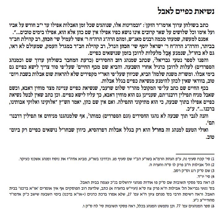 Minhag Chabad Avelylus Bircas Cohanim