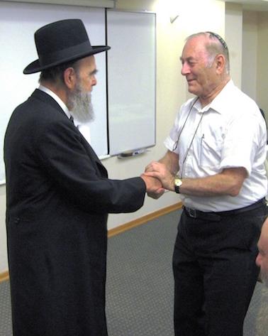 Rabbi Akiva Ehrenfeld on left with R' Meir Deutsch