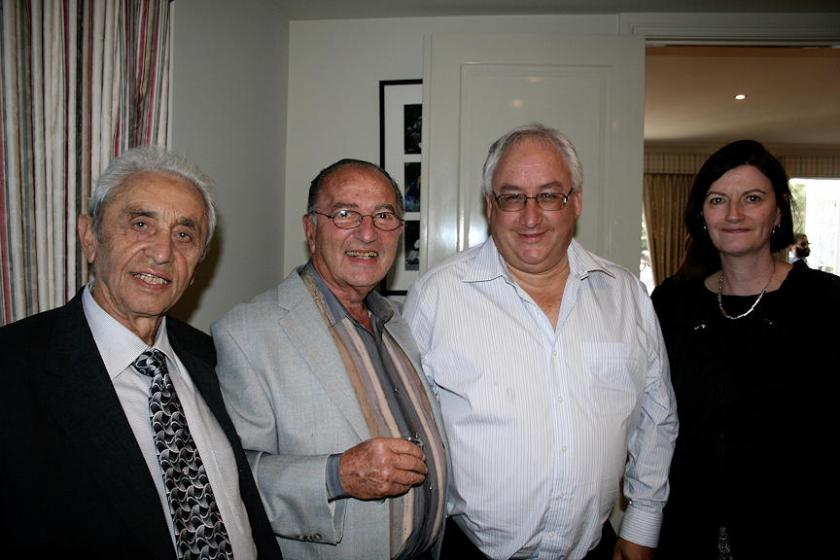 From left: My father ע'ה, Vice President of Elwood Shule, Fred Antman, President Elwood Shule, Michael and Amira Danby